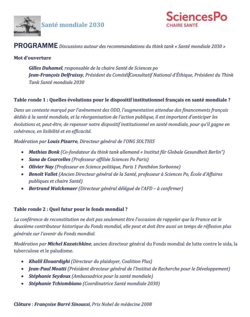 programme conférence santé mondiale 2030